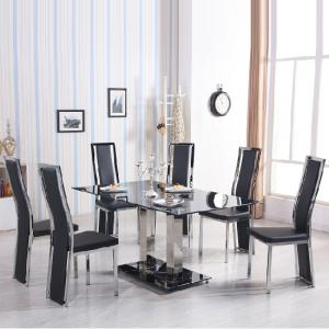 Holly Black Glass Dining Set With 6 Collete Black  Chairs