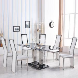 Holly Dining Table In Black Glass With 6 Collete White Chairs