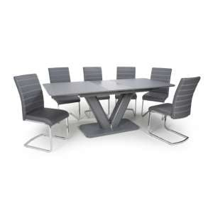 Venus Extending Glass Dining Table With 6 Callisto Grey Chairs