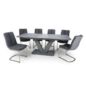 Venus Extending Glass Dining Table 6 Triton Dark Grey Chairs