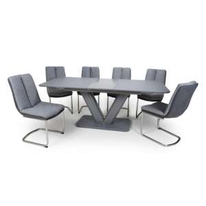 Venus Extending Glass Dining Table 6 Triton Light Grey Chairs