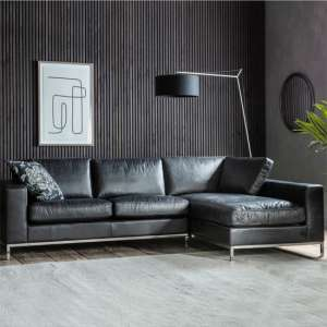 Verkee Faux Leather Corner Sofa In Black With Chrome Legs