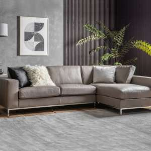 Verkee Faux Leather Corner Sofa In Grey With Chrome Legs
