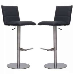Verlo Bar Stools In Grey Faux Leather In A Pair