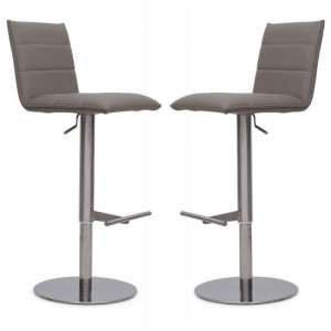 Verlo Bar Stools In Taupe Faux Leather In A Pair