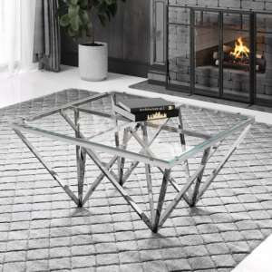 Verona Clear Glass Coffee Table With Silver Stainless Steel Legs