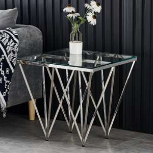 Verona Clear Glass Side Table With Silver Stainless Steel Legs