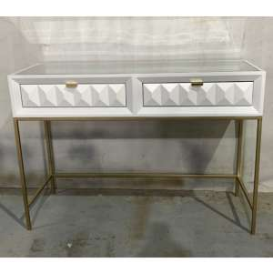 Veraiza Console Table In White High Gloss With 2 Drawers