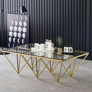 Verona Large Clear Glass Coffee Table With Gold Steel Legs