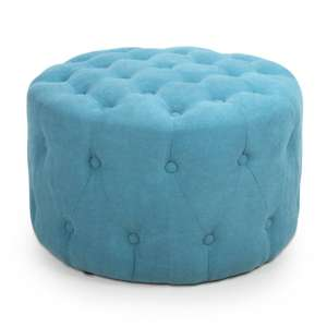 Verona Small Round Pouffe In Turquoise Blue