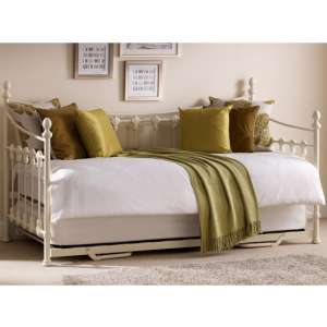 Versailles Metal Day Bed With Guest Bed In Stone White