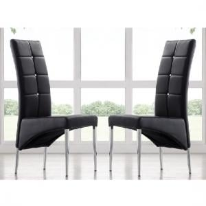 Vesta Modern Dining Chair In Black Faux Leather In A Pair