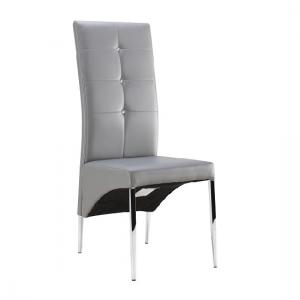 Vesta Studded Dining Chair In Grey Faux Leather