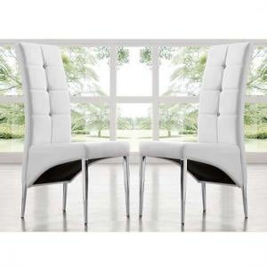 Vesta Modern Dining Chair In White Faux Leather In A Pair