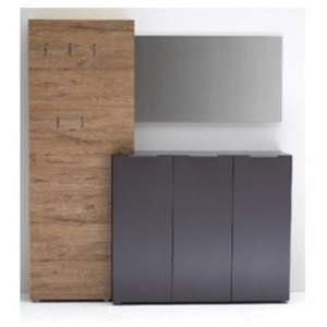 Vicenza Hallway Furniture Set In Anthracite And Oak