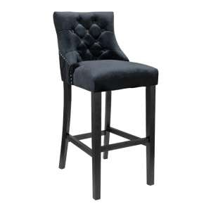 Victoria Black Velvet Bar Stool Black Wooden Frame