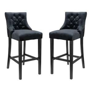 Victoria Black Velvet Bar Stool In Pair