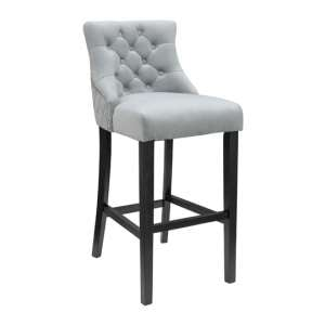 Victoria Grey Velvet Bar Stool Black Wooden Frame