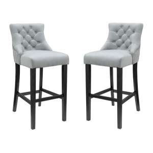 Victoria Grey Velvet Bar Stool In Pair