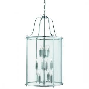 Victorian 12 Light Lantern In Chrome With Clear Glass Panels
