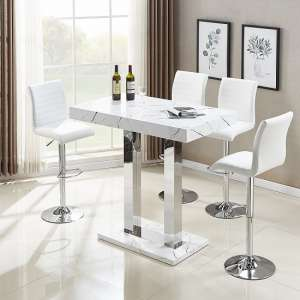 Vida Bar Table In Glossy Marble Finish 4 Ripple White Stools