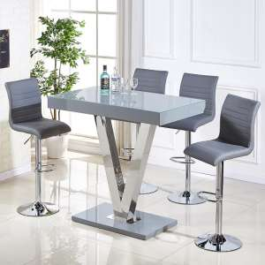 Vienna Glass Bar Table In Grey Gloss And 4 Ripple Bar Stools