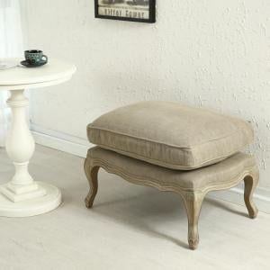 Vienna Fabric Foot Stool With Grey Wooden Legs