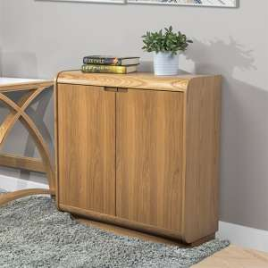 Vikena Wooden Filing Cabinet In Oak With 2 Doors