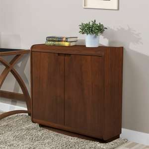 Vikena Wooden Filing Cabinet In Walnut With 2 Doors