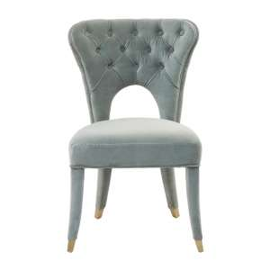 Sadalsuud Blue Velvet Feature Chair With Wooden Legs