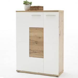 Viola Wooden Shoe Cabinet Left In Oak And Matt White