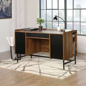 Vittoria Wooden Computer Desk In Walnut And Black