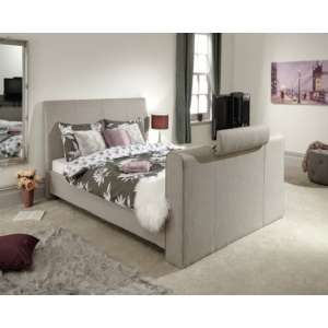 Vizzini Pneumatic Fabric King Size TV Bed In Light Grey