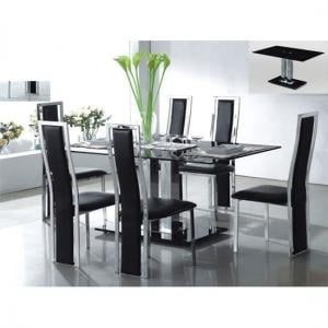 Ice Dining Table Rectangular In Black Glass With 6 Dining Chairs