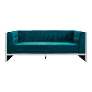 Vogue 3 Seater Velvet Sofa In Teal