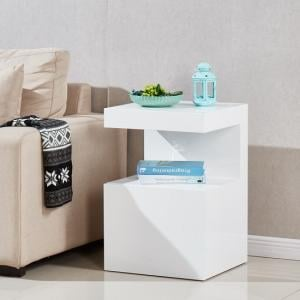 Voltaire Contemporary Side Table In White High Gloss