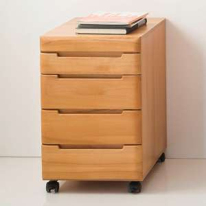 Vrox Wooden Rolling Storage Cabinet In Heartwood Beech