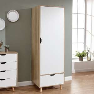 Vulpecula Wooden Wardrobe In White And Oak