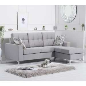 Wacox Linen Fabric Reversible Chaise Corner Sofa In Grey