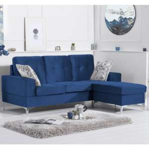 Wacox Velvet Reversible Chaise Corner Sofa In Blue