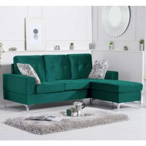Wacox Velvet Reversible Chaise Corner Sofa In Green