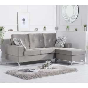 Wacox Velvet Reversible Chaise Corner Sofa In Grey