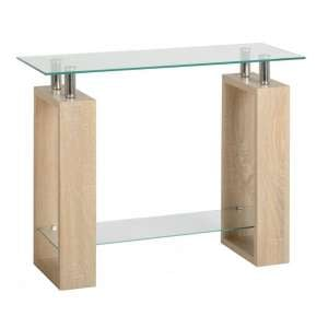 Waddell Clear Glass Console Table With Sonoma Oak Legs