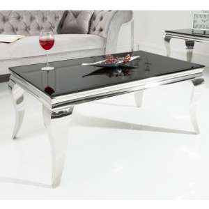 Wakerley Black Glass Coffee Table With Stainless Steel Legs