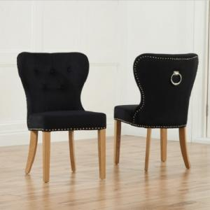Wallace Dining Chair In Black Velvet With Oak Legs In A Pair