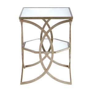 Wally Cross Design Mirrored Side Table In Silver