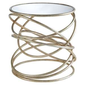 Wally Spiral Design Mirrored Side Table In Silver