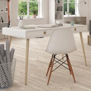 Softline Wooden Laptop Desk In Off White With 2 Drawers