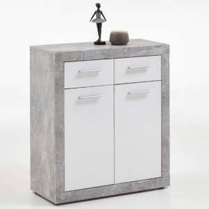 Waples Compact Sideboard In Concrete And White With 2 Doors