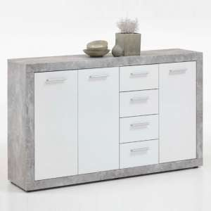 Waples Sideboard Wide In Concrete And White With 3 Doors